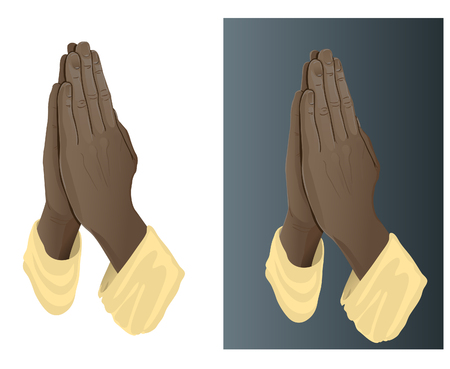 Vector image of African American prayer's hands. Looks good on both light and dark background