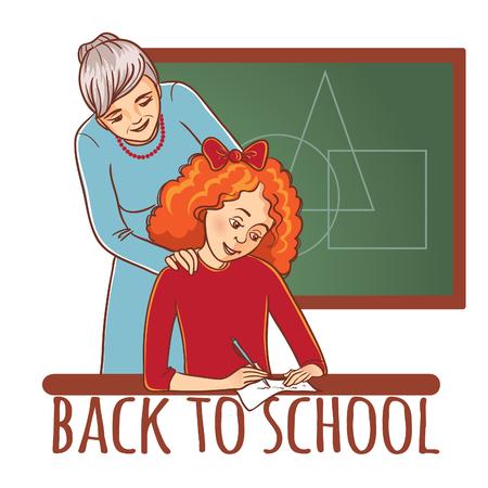 Maestra o madre ayuda a una niña a aprender una lección Ilustración de vector