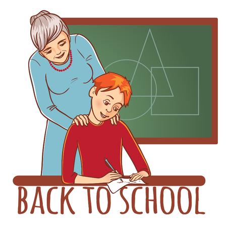 L'enseignant ou la mère aide un garçon à apprendre une leçon