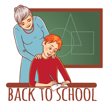 Teacher or mother helps a boy to learn a lesson