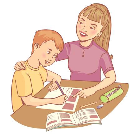 El maestro o la madre ayuda a un niño a aprender una lección.