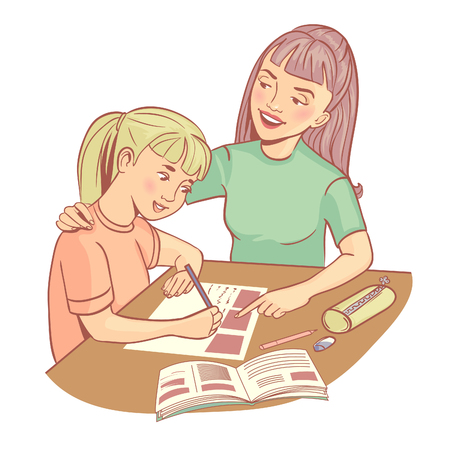 Mother or teacher helps a girl to learn a lesson