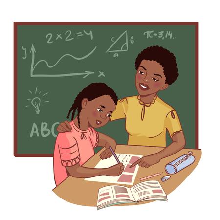Afro-Amerikaanse moeder of leraar helpt een meisje een lesje te leren Vector Illustratie