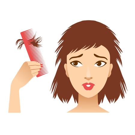 Schönes Mädchen mit Haarausfall, der auf dem Kamm traurig aussieht