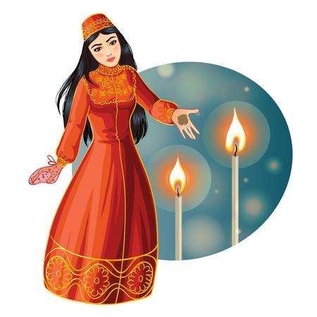 Zeremonie in der Henna-Nacht, Kina Gecesi, eine Braut mit Henna auf ihren Handflächen, Vektorbild, eps10