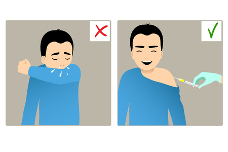 Set of two images with boy sneezing in elbow and the same happy boy being injected