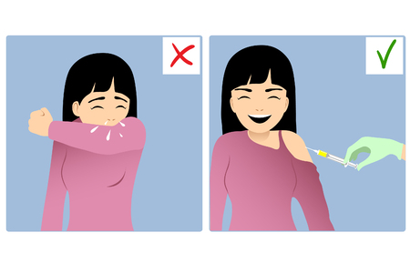 Set of two images with girl sneezing in elbow and the same happy girl being injected Vettoriali