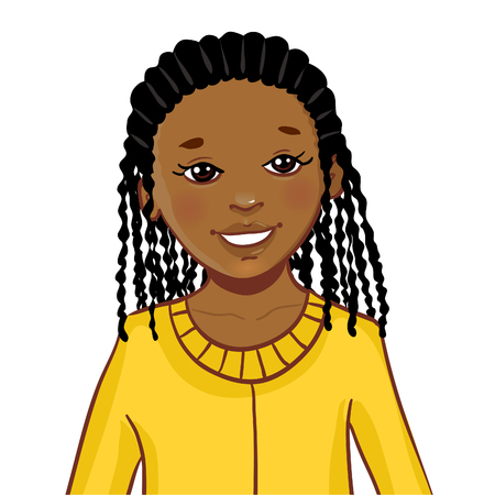 Teenager cartoon African American girl