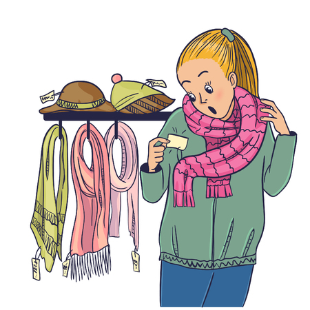 Girl looks shocked on high price of the scarf in the store during shopping, vector image, eps10