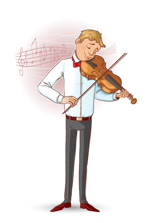 Cartoon musician playing violin, vector image, eps10
