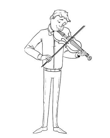 Cartoon musician playing violin, vector image, outline Vektoros illusztráció