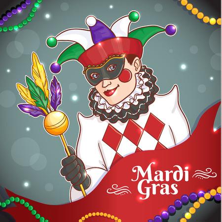 Fond coloré avec joker Mardi Gras en masque pour affiche, modèle, flyer. Image vectorielle, eps10 Vecteurs