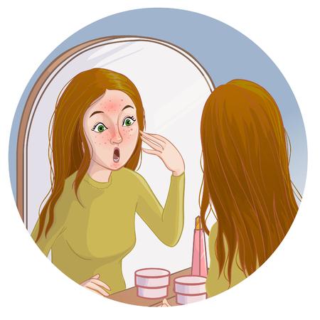 Une jeune femme de bande dessinée regarde dans un miroir et voit des taches rouges sur sa peau. Image vectorielle