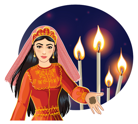 Ceremony at henna night, kina gecesi, a bride  with henna on her palms, vector image