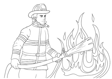 Young firefighter who extinguishes a fire with a fire hose, vector image, outline