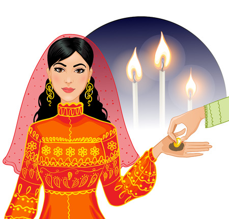 Ceremony at henna night, kina gecesi, a bride becomes coin on her palms, vector image, eps10 Illustration