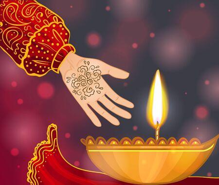Ceremonie bij henna nacht, kina gecesi, de hand van een bruid met munt en henna op de achtergrond met kaars, vector afbeelding, eps10 Vector Illustratie