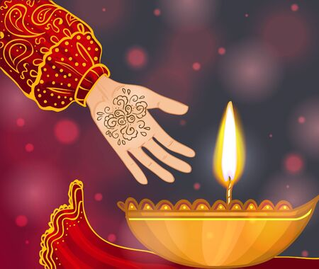 Ceremony at henna night, kina gecesi, a bride's hand with coin and henna on the background with candle, vector image, eps10