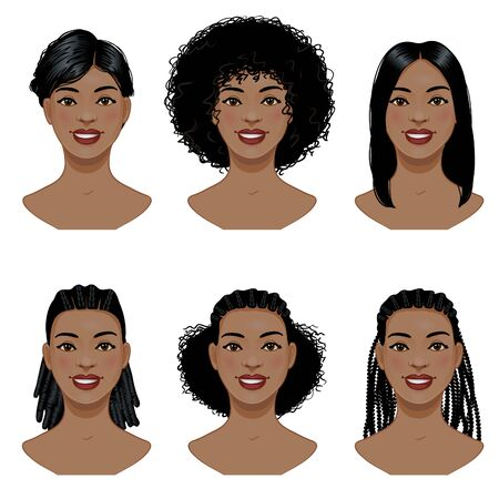 Set of hairstyles for African, American woman, vector
