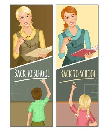 Two banners with teacher and child at blackboard, vector 矢量图像