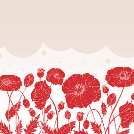 Floral decorative card with poppies on background and place for text, vector 矢量图像