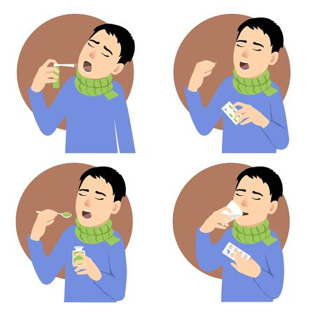 Four images of a man who has cold and takes different medicaments, spray, pill, mixture, vector Illustration