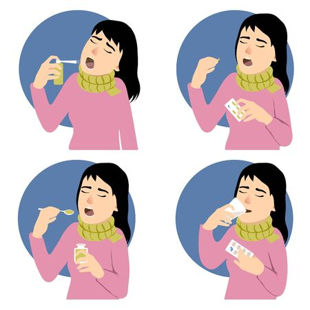Four images of a woman who has cold and takes different medicaments, spray, pill, mixture, vector