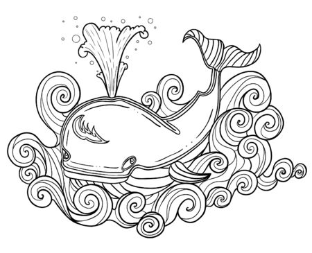 Illustration of decorative whale for coloring, outline, vector image 矢量图像