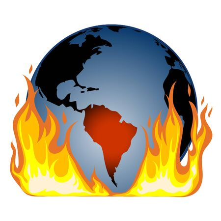 An icon of a globe in fire with epicentre in South America, vector image