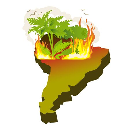 An icon of a South America continent with forest fire in Amazon area, vector image
