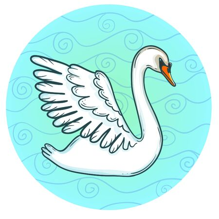 Decorative swan on the background, vector image