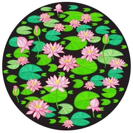 Round decorative background with water lily, vector image