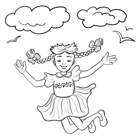 Happy jumping cartoon girl, vector image, hand drawn outline for coloring page 矢量图像