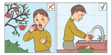 Set of two images showing right and wrong action, conceptual. The boy eats dirty apple from tree and wash fruits before eating.