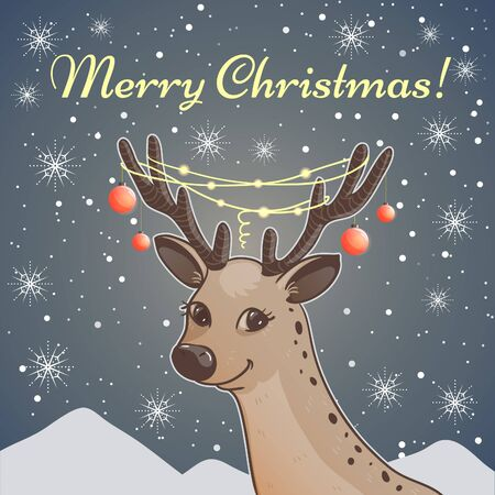Cute cartoon Christmas card with deer on the background with snow mountains and greeting