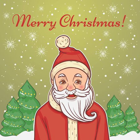 Cute cartoon Christmas card with Santa Claus on the background with greeting and trees