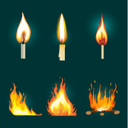 Set of six images with fire and flame on dark background. Can be used on light background as well