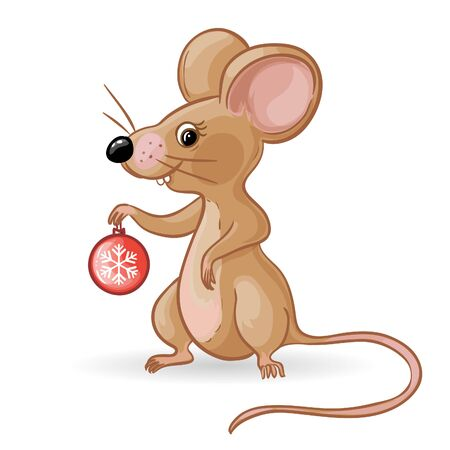 Cartoon yellow mouse with new year tree ball, symbol of 2020 year