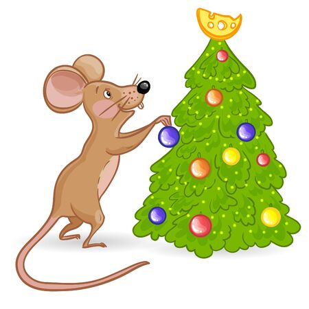 Cartoon yellow mouse decorates new year tree, symbol of 2020 year