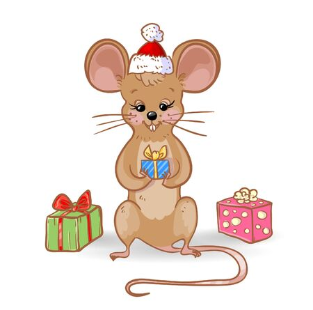 Cartoon yellow mouse in santa hat with decorated present, surrounded new year gifts, symbol of 2020 year