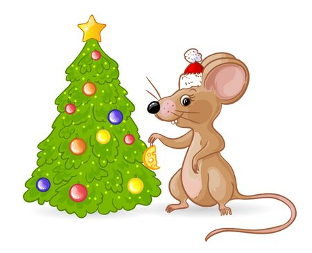 Cartoon yellow mouse in Santa hat decorates new year tree with cheese, symbol of 2020 year