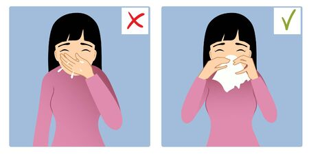Set of two images with girl sneezing in hand and napkin