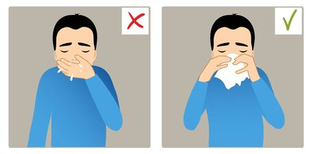 Set of two images with boy sneezing in hand and napkin, what is right and wrong