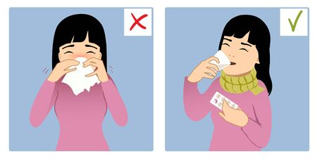 Set of two images with ill girl sneezing in napkin and taking medicine, what is right and wrong, vector image, eps10 矢量图像