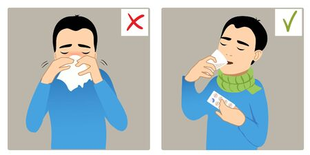 Set of two images with boy sneezing in napkin and taking medicine, what is right and wrong 矢量图像