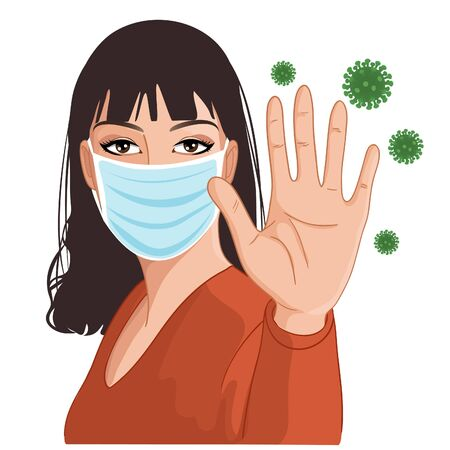 Young woman in medical mask makes stop gesture with hand, protecting against virus