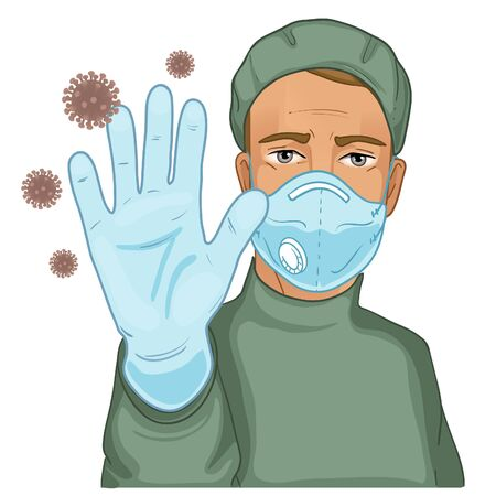 Young man, doctor in protective suit and medical mask makes stop gesture with hand, protecting against virus