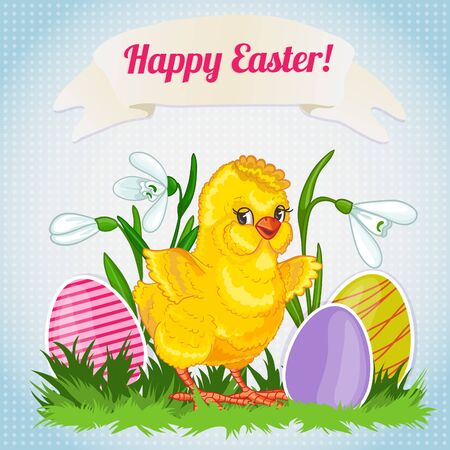 Illustration with cute cartoon baby chicken on background with snowdrops and easter eggs, vector image for Easter 矢量图像