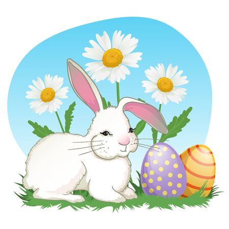 Illustration with cute cartoon baby rabbit on background with chamomiles and easter eggs, vector image for Easter