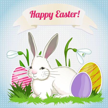 Illustration with cute cartoon baby rabbit on background with snowdrops and easter eggs, vector image for Easter